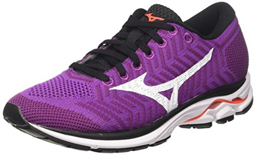 Mizuno Waveknit R1 WOS, Scarpe da Running Donna, Viola (Hyacinthvioletwhitefierycoral), 38.5 EU