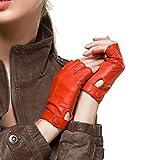 Nappaglo Damen Lederhandschuhe für fahren Halbfinger fingerlose Handschuhe für Fahren Outdoor Motorrad Radfahren Handschuhe (L (Umfang der Handfläche:19.0-20.3cm), Rot)