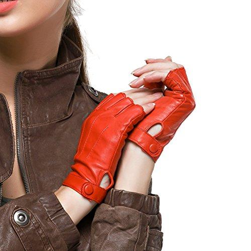 Nappaglo Damen Lederhandschuhe für fahren Halbfinger fingerlose Handschuhe für Fahren Outdoor Motorrad Radfahren Handschuhe (S (Umfang der Handfläche:16.5-17.8cm), Rot)