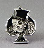 Metal Enamel Pin Badge Biker Grinning Skull in Black Ace of Spades