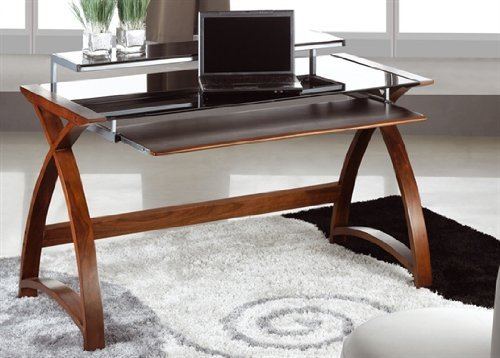 Top Jual Helsinki Curved Compact Walnut and Black Desk