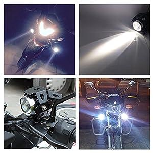 Prozor - Faros delanteros para motocicleta con interruptor, 2piezas, 125W, 3000 lm, Cree U5LED, antiniebla, interruptor universal de 3botones