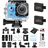 Camera Sport, WiMiUS Q1 Action Cam 4k Full HD 16MP WIFI Etanche 40M, Camera Embarquée Sport 170° Grand Angle Kit d'accessoires + 2 Batteries (Blue)