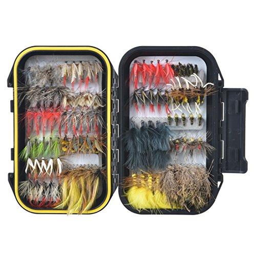100 Stück Forellen Angel-Fliegen Kunstköder Set - Trockenfliegen, Nassfliegen, Nymphe, Streamer und Emerger Fliegenfischen köder schachtel mit Taschen