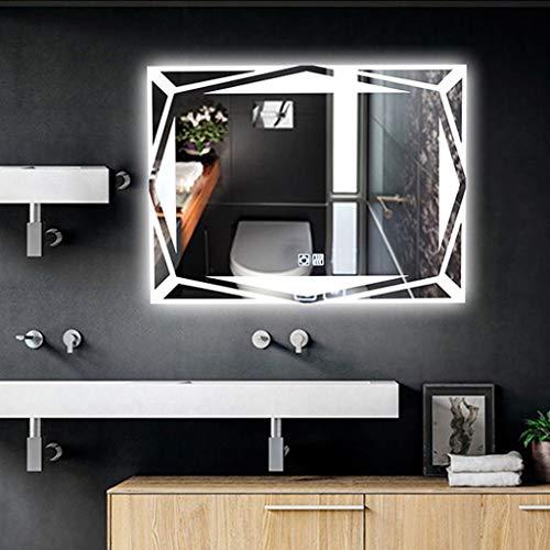 Touch Gerahmt (JKAD Schminkspiegel mit Licht Wand Bad Wandspiegel Nordic LED-Leuchten Smart Square Touch Anti-Fog-Schminkspiegel (Size : Touch Switch))