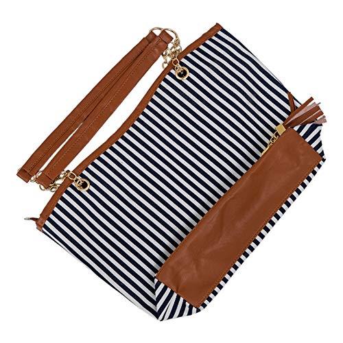 HWUDFSLG Neue Gestreifte Leinwand Handtasche Frauen Umhängetaschen Strandtasche Mode Reißverschluss Quaste Frauen Handtasche Große Einkaufstasche