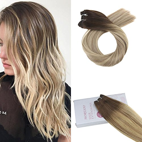Moresoo 24 pouces Weft Sew in Hair Extensions Humain Hair Colorful Brown #3 Fading to #8 Highlighted with #22 100% Remy Brazilian Humain Hair Wefts 100g/bundle