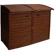 Andrewex Mülltonnenbox für 2Tonnen 156 x97 cm 240 Liter aus Holz Farbton:Braun Mülltonnenschrank Mülltonnenverkleidung