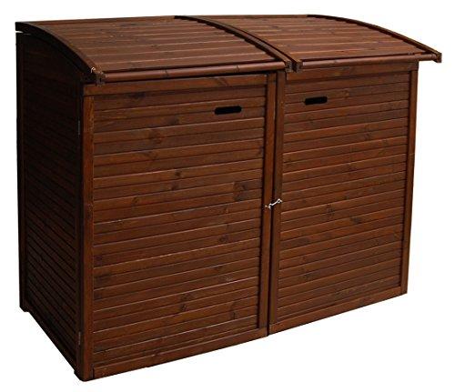 *Andrewex Mülltonnenbox für 2Tonnen 156 x97 cm 240 Liter aus Holz Farbton:Braun Mülltonnenschrank Mülltonnenverkleidung*