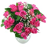 Clare Florist 20 Pink Roses with Gyp