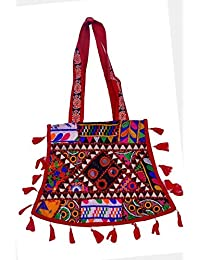 Gaurapakhi Rajasthani Collection And Ethnic Cotton Handmade Handbag With Multicolor For Women's - B07D7GST86