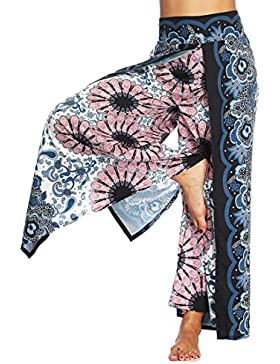 SEVENWELL Mujeres Atractivas Pantalones De Yoga Boho Raja Ancha Pierna Pantalones Florales Ocasionales De Verano...