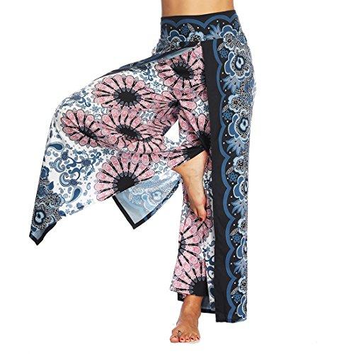 SEVENWELL Frauen Casual Yoga Pluderhosen Sommer Lose Boho Aladdin Boho Aladin Hosen Baggy Overall Floral M -