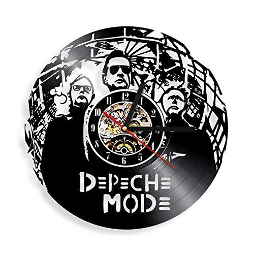 Lozse Rotonda di Hollow Nero Creative 3D gomma record orologio moda rock band vinile parete orologio retro stile orologio da parete(Dimensioni: 12 pollici, Colore: nero)