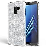 NALIA Hülle kompatibel mit Samsung Galaxy A8 (2018) Glitzer Handyhülle Ultra-Slim Silikon Case Back-Cover Schutzhülle, Glitter Handy-Tasche Bumper, Dünnes Bling Phone Etui, Farbe:Silber