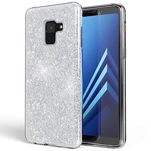 NALIA Hülle kompatibel mit Samsung Galaxy A8 (2018) Glitzer Handyhülle Ultra-Slim Silikon Case Back-Cover Schutzhülle, Glitter Handy-Tasche Bumper, Dünnes Bling Phone Etui, Farbe:Silber Phone Cover Glitter