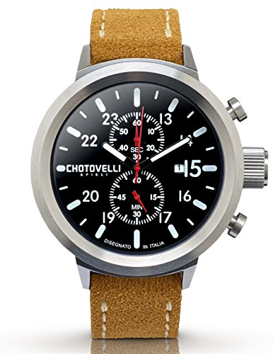 Chotovelli große Fliegeruhr -Herren Armbanduhren -Chronograph -Wildleder 747.12