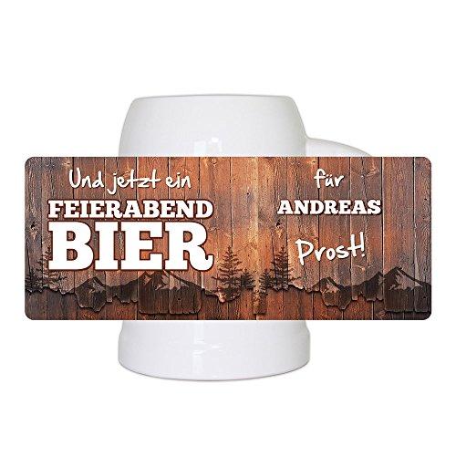 Bierkrug mit Namen Andreas und schönem Feierabendbier-Motiv | Bier-Humpen | Bier-Seidel 5