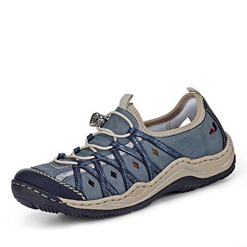 Pattino delle signore Slipper 36 37 38 39 40 41 42 43 blu Rieker L0567-14 Blue