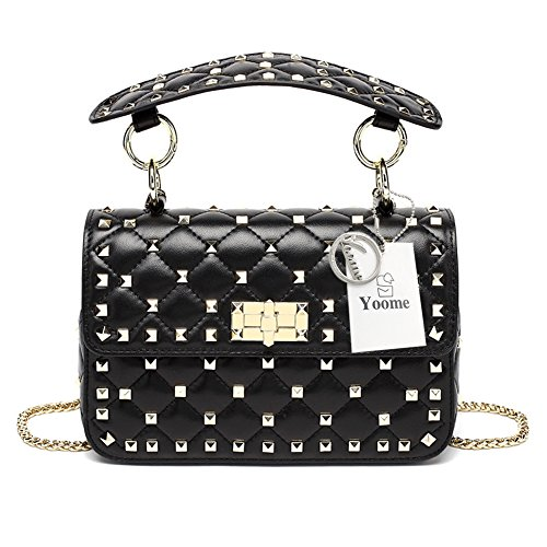 Yoome in Vera Pelle Trapuntata Catena Tracolla Borsa Mini Pochette con Strass Rivetti Top Handle Handbags