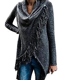 55f003e056525c Petalum Damen Jacke Winter Herbst Warm Elegant Lady Langarm Fransen Quasten  Lässig Asymmetrisch Stricken Stola Schal Jacken Outdoor…