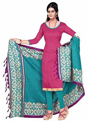 Khushali Presents Art Silk Straight Unstitched Dress Material(Pink,Sky Blue)