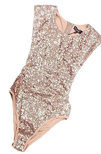 Sommer Damen Einteiler Badebekleidung Bodycon Pailletten Badeanzüge Bademode Rundhals Ärmelloses One Piece Swimwear
