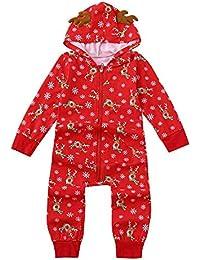 Zolimx Family Pyjamas Nachtwäsche Weihnachts-Outfit Hoodie Strampler Jumpsuit Lange Ärmel Mit Kapuze Weihnachtshirsch-Print Overall