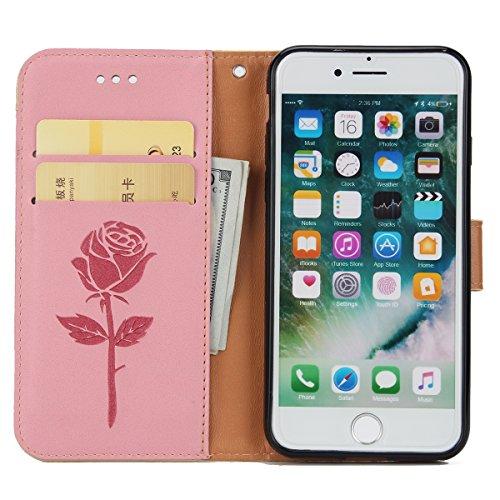 Hülle für iPhone 7, Tasche für iPhone 7, Case Cover für iPhone 7, ISAKEN Blume Schmetterling Muster Folio PU Leder Flip Cover Brieftasche Geldbörse Wallet Case Ledertasche Handyhülle Tasche Case Schut Rose Kinder Pink