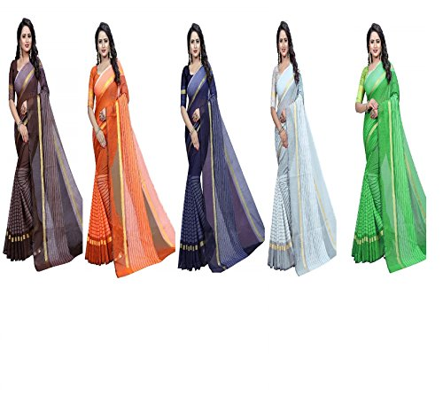 sarees for women sarees new collection sarees for women latest design Women\'s Rajeshwar Fashion Women\'s Clothing Saree Collection in Multi-Colored Chanderi Pattern Saree With Blouse Piece (COMBO PAC