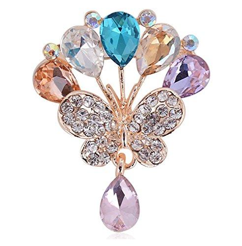 Broche de mariposa dorado con cristales