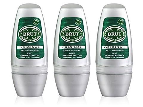 3x Brut ORIGINAL MENS Roll On DEODORANT Antiperspirant 50ml by Faberge