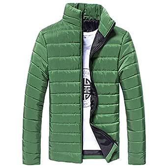 TITAP M-5XL Newest Men Warm Jacket Stand Collar Slim Fit Full Zip Coat Thick Outwear (Size:2XL, Light Green)