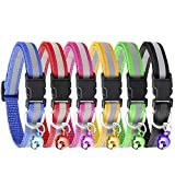 KeNeer Cat Collar with Bell Adjustable Fluorescently Reflective, Simple and Elegant Design (6 Colors)