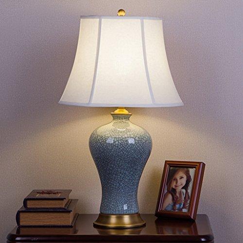 Azure Blau Keramik (Hyun times Tischleuchte keramik kupfer 33 * 55 cm Amerikanischen retro alle modernen Chinesischen schlafzimmer nacht Azure crack dekorative lampen (Farbe : B))
