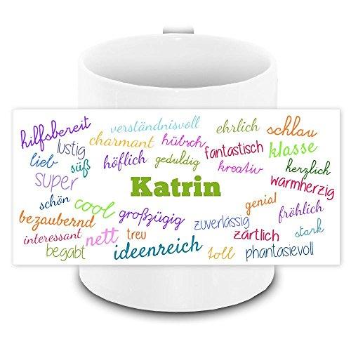 Tasse mit Namen Katrin und positiven Eigenschaften in Schreibschrift , weiss | Freundschafts-Tasse - Namens-Tasse 8