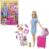 Barbie Ensemble de poupée et de Voyage avec Animal de Compagnie, Bagages et Accessoires