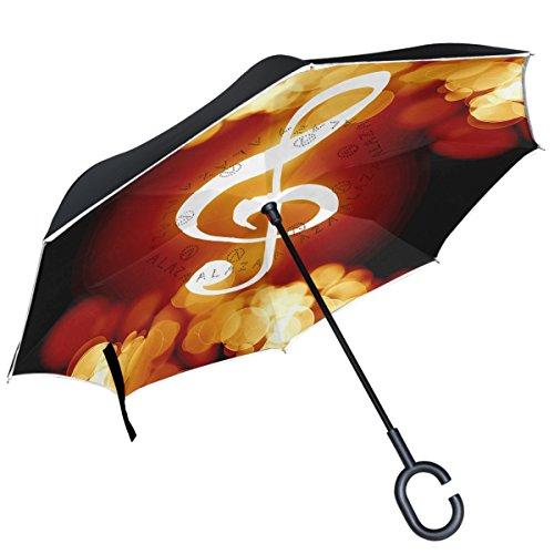 ALAZA Flaming Musik Note Neon Dark seitenverkehrt Double Layer Winddicht Rückseite Regenschirm (Musik Noten Neon)