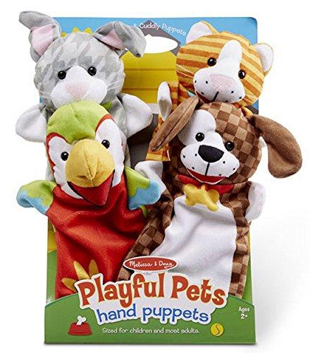 Woodega Melissa & Doug- Kasperlefiguren Stoff- Haustiere Handpuppenset 4-fach- Kinder Kasperpuppen Puppentheater Rollenspiel, Mehrfarbig
