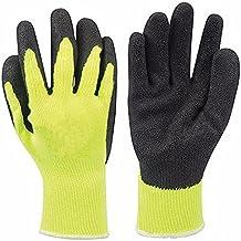 Hi-Vis Builders guantes con 10G TC carcasa algodón poliéster., peso ligero, algodón con revestimiento de látex amarillo guantes de punto, resistente a pinchazos para industrias, Sitios de construcción. Ropa de trabajo de accesorios
