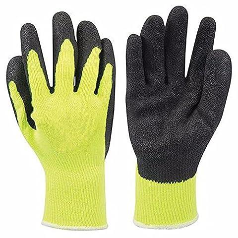 Hi-Vis Builders Handschuhe mit 10g TC Shell Baumwolle Polyester. Latex beschichtet, leichtes Gewicht, Baumwolle gestrickt, pannensicher gelb Handschuhe für Industries, Baustelle. Workwear Zubehör