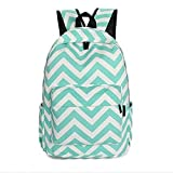 New Cute Ladies Girls Moire Canvas Satchel Rucksack Backpack Shoulder School Bag (Mint green)