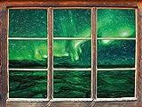 Stil.Zeit Aurora dans l'effet de Crayon Ciel Art coloré Fenêtre en 3D Look, Mur ou Format Vignette de la Porte: 62x42cm, Stickers muraux, Sticker Mural, décoration Murale