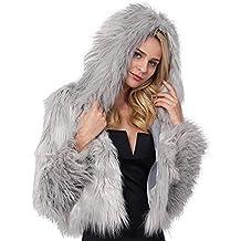 Yvelands Chaqueta de Piel sintética Premium cálida para Mujer Color sólido de Invierno Chaqueta de Piel