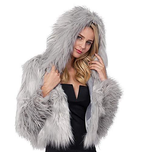 Homebaby giacca con cappuccio pelliccia sintetica donna caldo cappotto invernale moda corto manica lunga cardigan casuale maglione felpa elegante autunno invernale