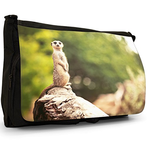 Animal Wildlife Meerkat-Suricato, colore: nero, Borsa Messenger-Borsa a tracolla in tela, borsa per Laptop, scuola Nero (Meerkat On Rock Peering)