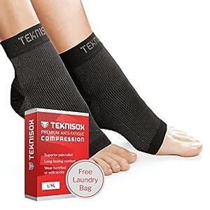 Socken Plantar-Fasziitis / Arthritis Kompressions-Manschetten – ÜBERLEGENE Schmerzlinderung in Füßen und Fersen, Zehenlose Fuß-Stütze – Schwarz/Weiß/Hautfarben/Rosa – für Männer und Frauen