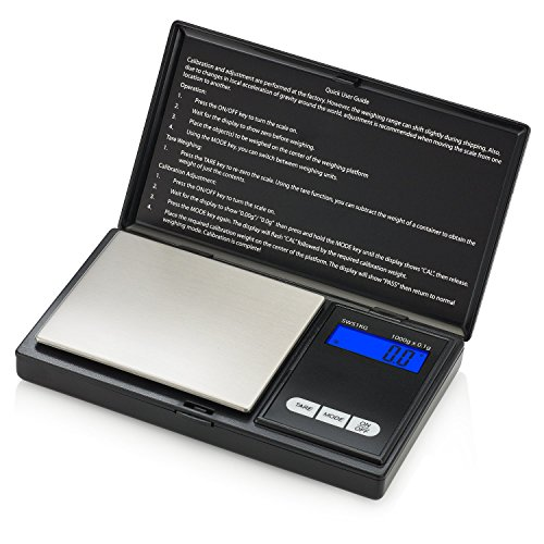 Smart Weigh SWS1KG Digitale Taschenwaage Küchenwaage Briefwaage Goldwaage 1000 x 0.1g mit LCD-Anzeige Digitale Waage