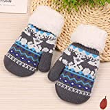 BiliWL Hervorragende High Quality Winter Kids Toes Warm Gloves mit Knitterhandschuhen und Mädchen Knitterhandschuhe für Kinder 6-11Jahre Klassik(None 3)