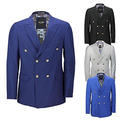 Klassisches Herren-Jackett, Zweireiher, Blauschwarz, mit Goldfarbenen Knöpfen im Vintage-Stil, 4 Farben Gr. Brust 64, - Weiße Die Männer Dinner-jacket